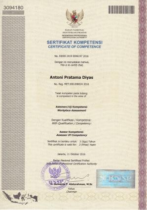 sertifikat asesor